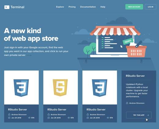 terminal store landing page website layout