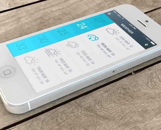 weather ui app iphone flat screen design