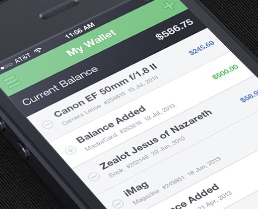 green dark app iphone flat wallet ui