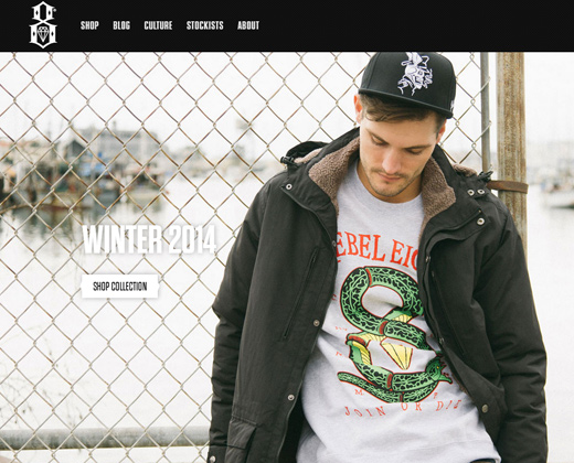 rebel8 homepage dark ecommerce site shopify layout