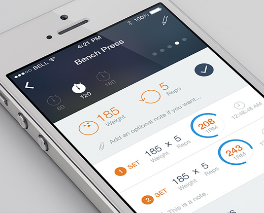 flat iphone workouts simple clean ui