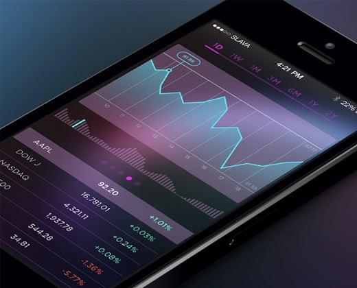 purple dark stocks app ui graph chart