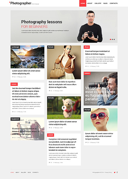 Photographer Portfolio Responsive WordPress Theme