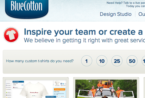 BlueCotton homepage website preview screenshot