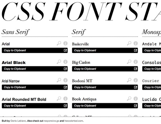 css font stack website picker families