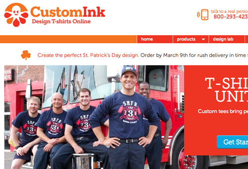 customink website layout screenshots interface prints
