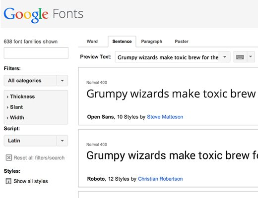 google web fonts open source website design