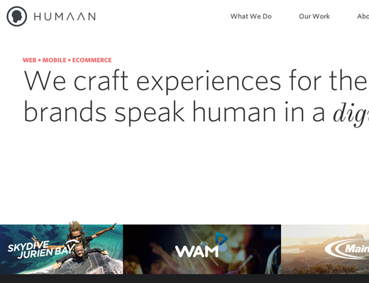 humaan homepage fade effect agency website