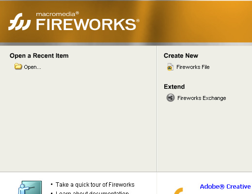 macromedia fireworks splash screen windows xp
