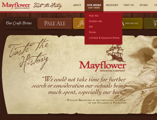 mayflower brewing company animated dropdown animation