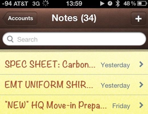 notes iphone ios app yellow paper pad design